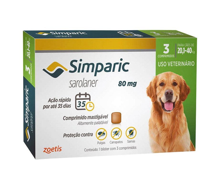 Antipulgas Simparic 80mg Para Cães De 20kg Até 40kg - 3 Comp