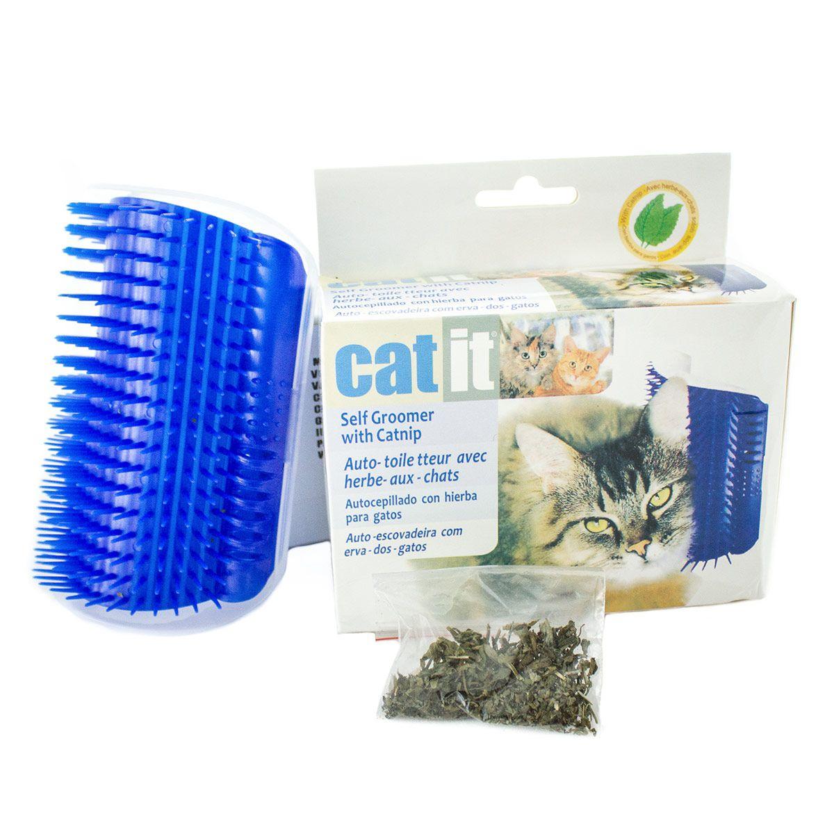 Auto Escovamento De Parede Para Gatos Catnip Cat it Azul