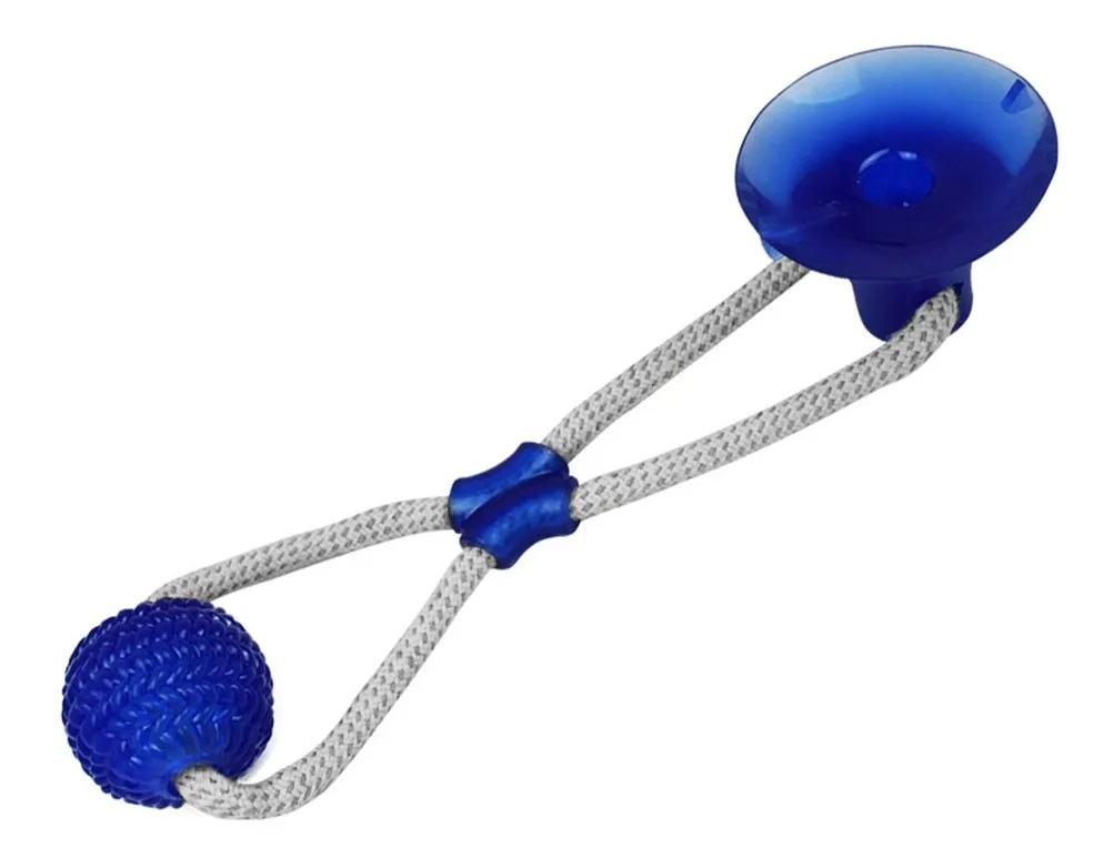 Brinquedo Corda Ventosa Morder Pet Cachorro Azul
