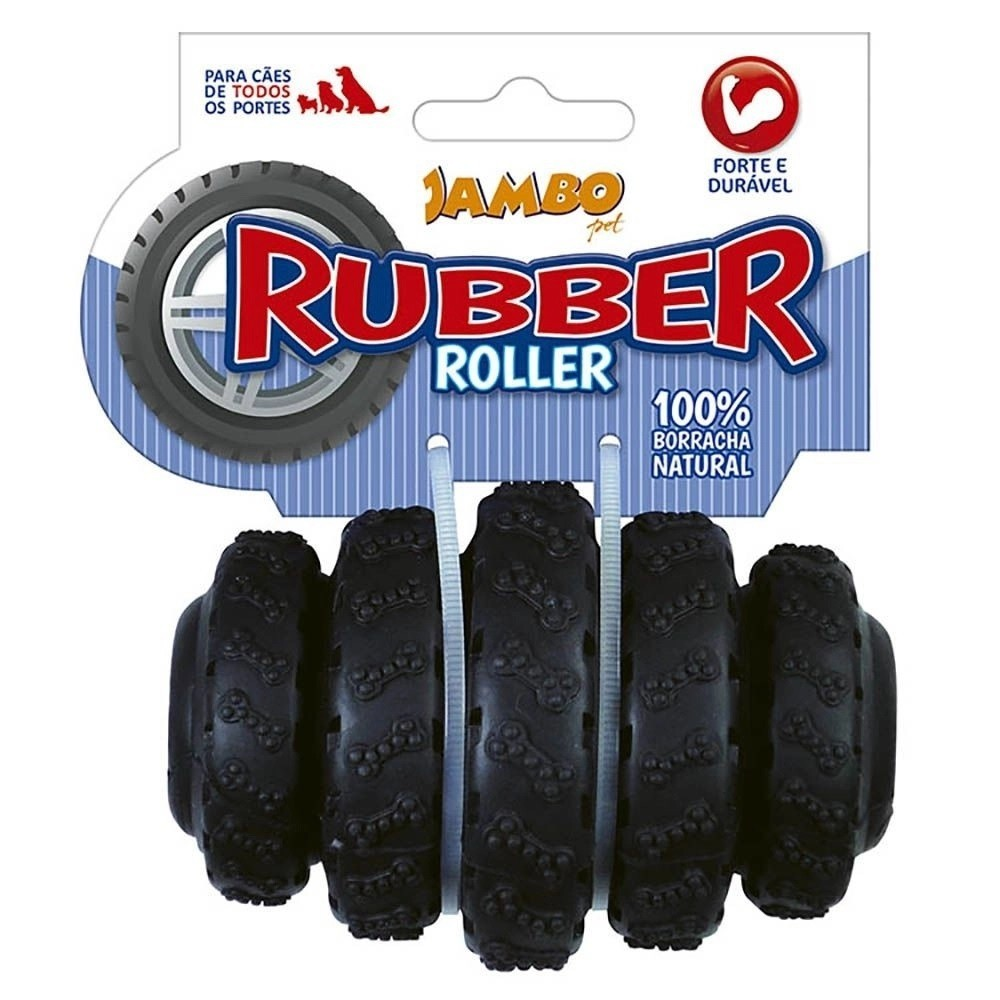 Brinquedo Rubber Roller Preto Para Cães Jambo