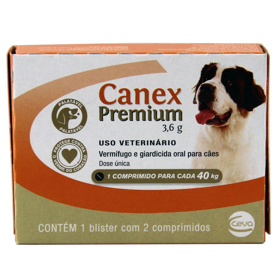 Canex Premium 3,6g Vermifugo Cães Até 40kg 2 Comprim Ceva