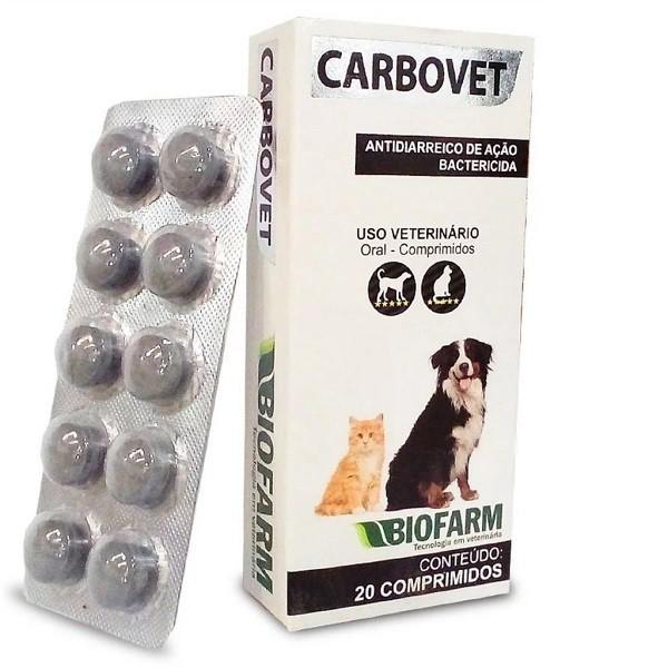 Carbovet 20 Comprimidos Cães e Gatos Biofarm