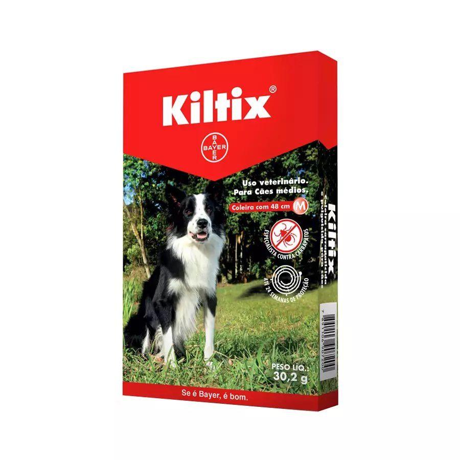 Coleira Bayer Carrapaticida Para Cães Médios 48cm Kiltix