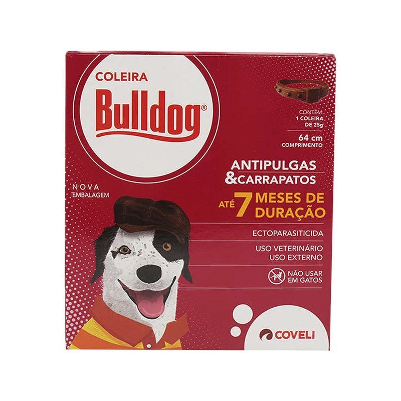 Coleira Bulldog Antipulgas e Carrapatos Coveli