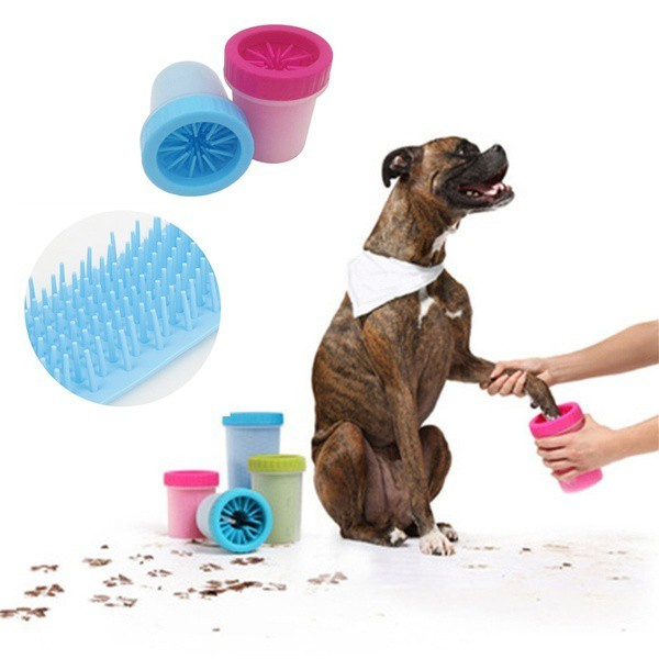 Copo Limpa Pata Pet Animal Soft Gentle Rosa