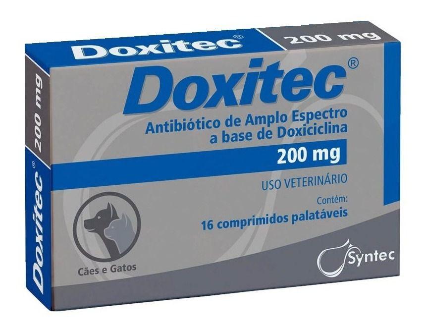 Doxitec 200 Mg 16 Comp - Antibiótico Para Cães E Gatos