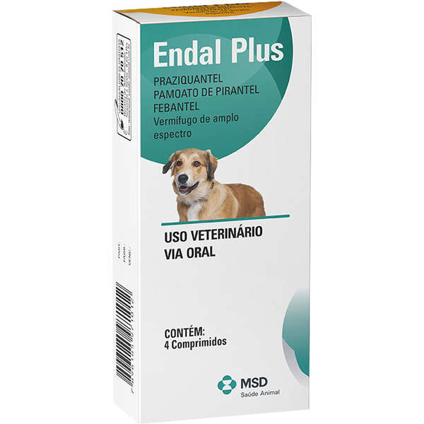 Endal Plus Vermífugo Para Cães 4 Comprimidos MSD