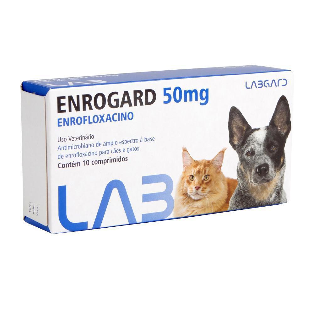 Enrogard 50 mg Antimicrobiano Cães e Gatos 10 comprimidos