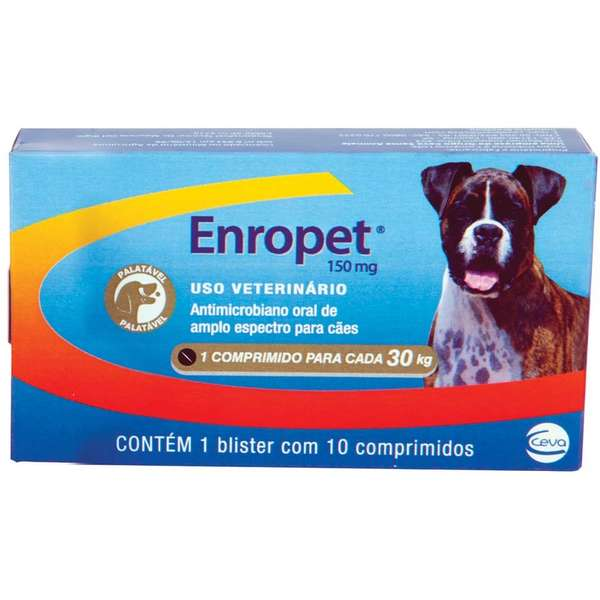 Enropet 150mg Antimicrobiano Ceva 10 Comprimidos