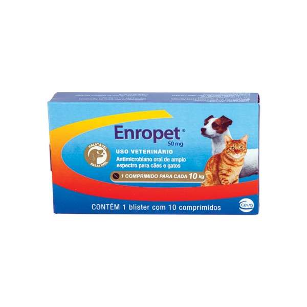 Enropet 50mg Antimicrobiano Ceva 10 Comprimidos