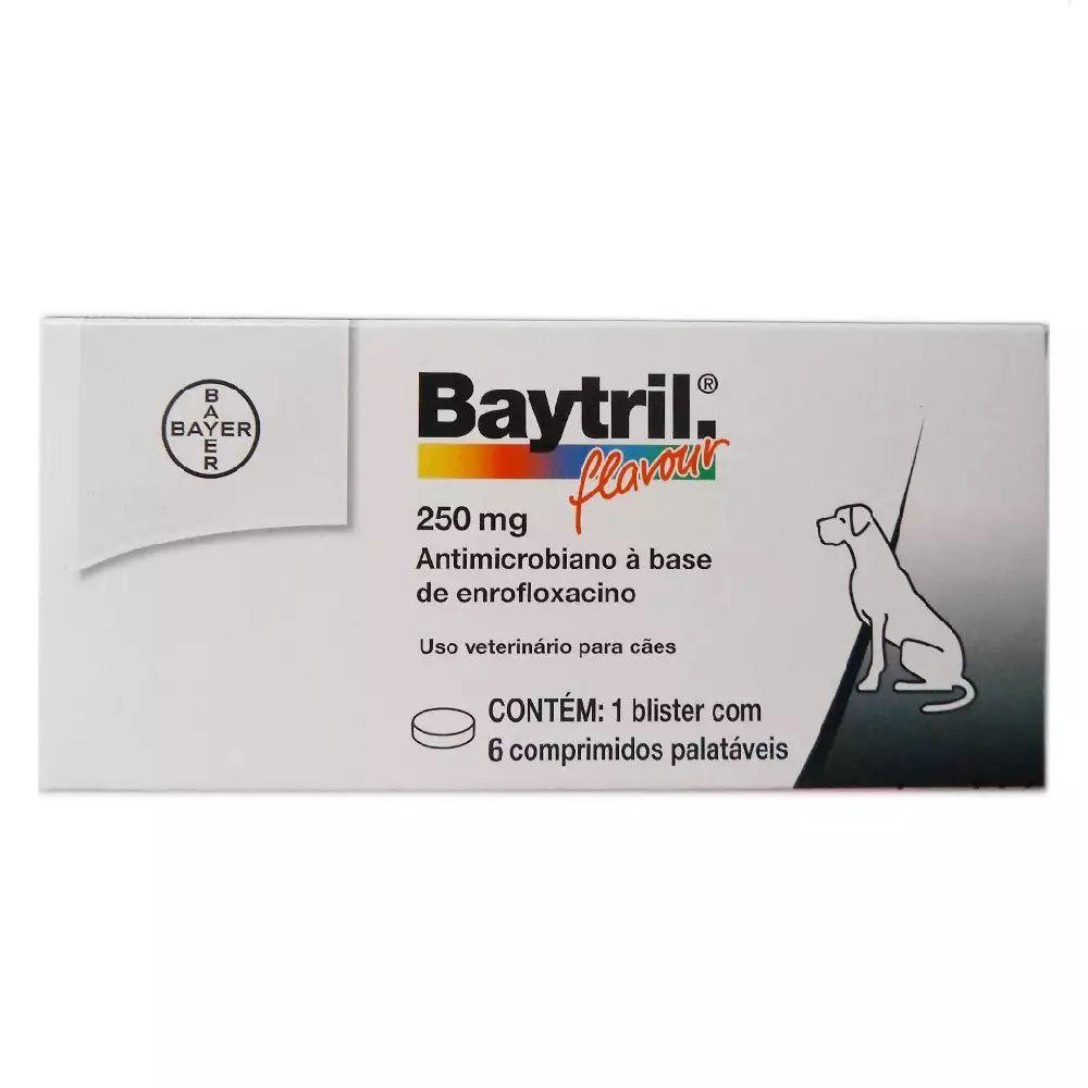 Baytril Flavour 250mg Para Cães Com 6 Comprimidos