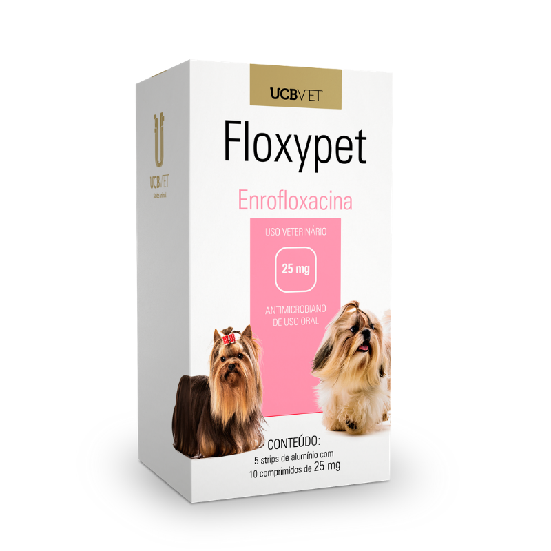 Floxypet Enrofloxacina 25mg 10 Comp Para Cães