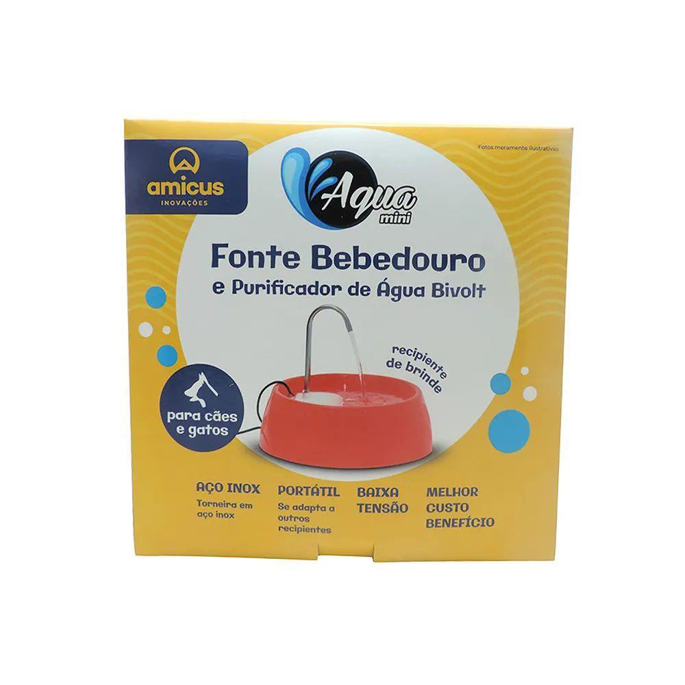 Fonte Bebedouro Aqua Mini para Cães e Gatos Vermelho Bivolt