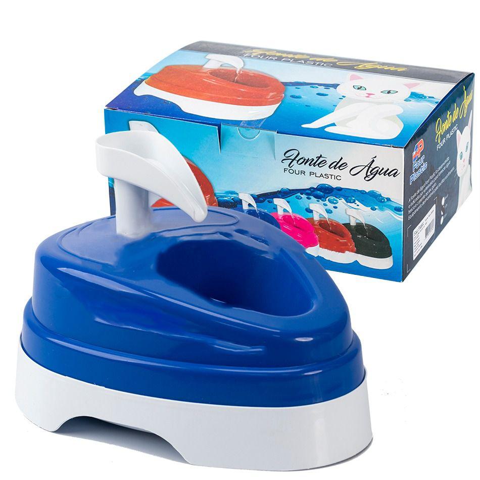 Bebedouro Fonte de Água Four Plastic Para Cães e Gatos Azul 110v