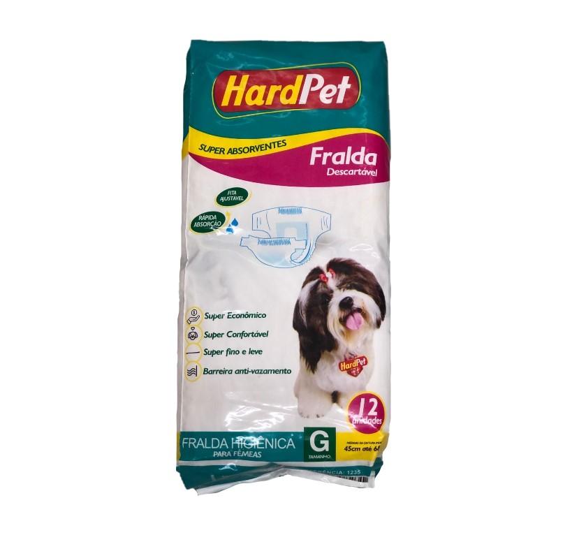 Fralda Higiênica Hard Pet Para Cães Fêmeas 12 Unidades - Tamanho G