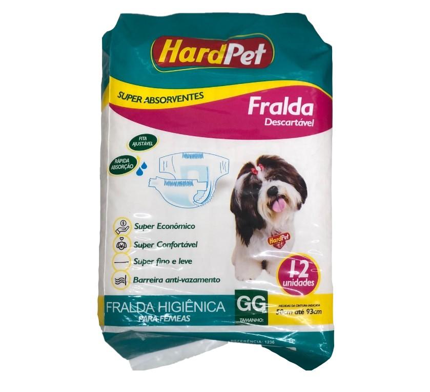 Fralda Higiênica Hard Pet Para Cães Fêmeas 12 Unidades - Tamanho GG