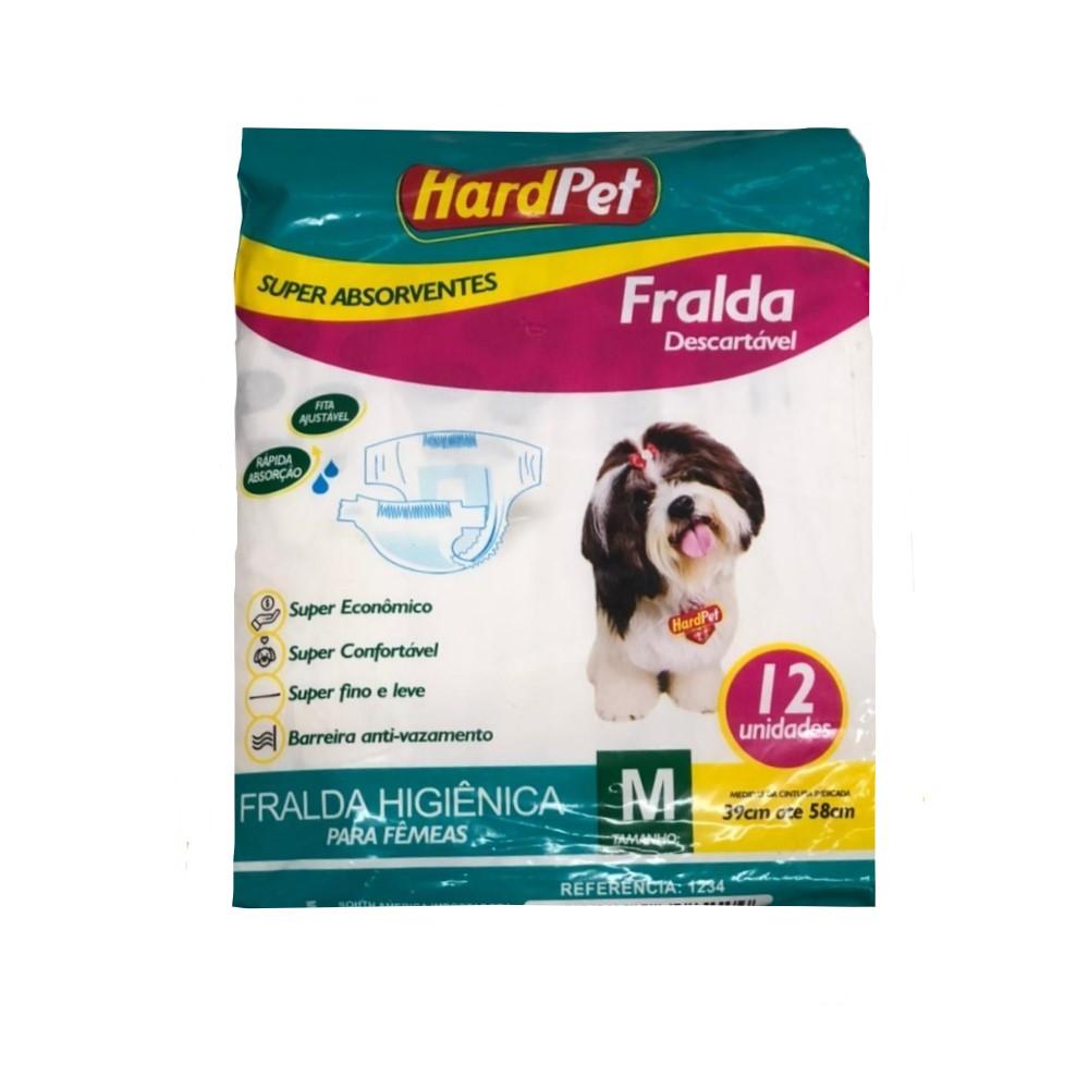 Fralda Higiênica Hard Pet Para Cães Fêmeas 12 Unidades - Tamanho M