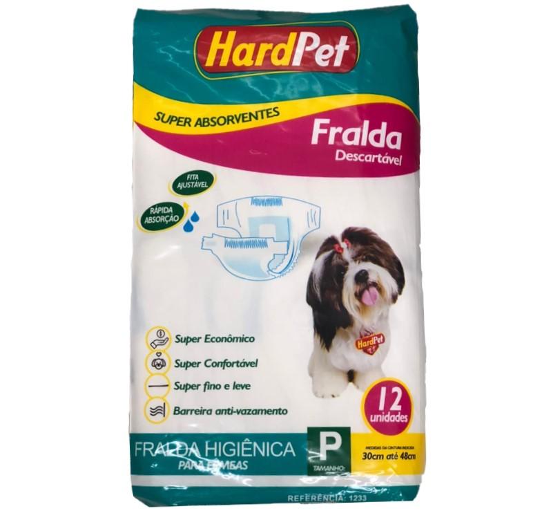 Fralda Higiênica Hard Pet Para Cães Fêmeas 12 Unidades - Tamanho P