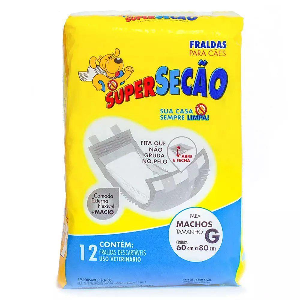 Fraldas Para Cães Super Secão Macho G 12 Unidades