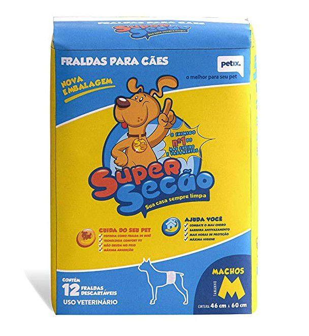 Fraldas Para Cães Super Secão Macho M 12 Unidades