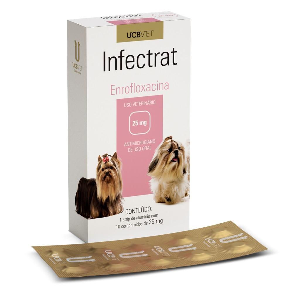 Infectrat Enrofloxacina 25mg Antimicrobiano Para Cães 10Comp.