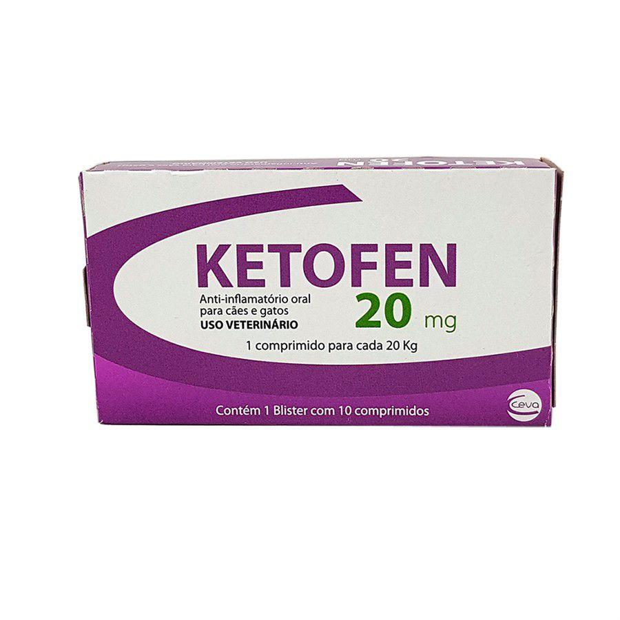 Ketofen 20mg 10 comprimidos Ceva Anti-inflamatório Cães e Gatos