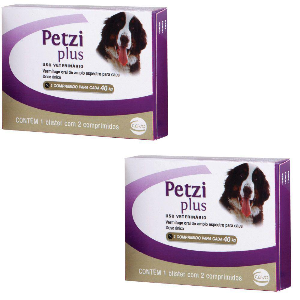 Kit 2 Petzi Plus Vermífugo 2 Comprimidos Cães 40 Kg