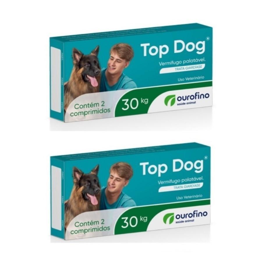 Kit 2 Vermifugo Ouro Fino Top Dog 30kg Caixa 2 Comprimidos