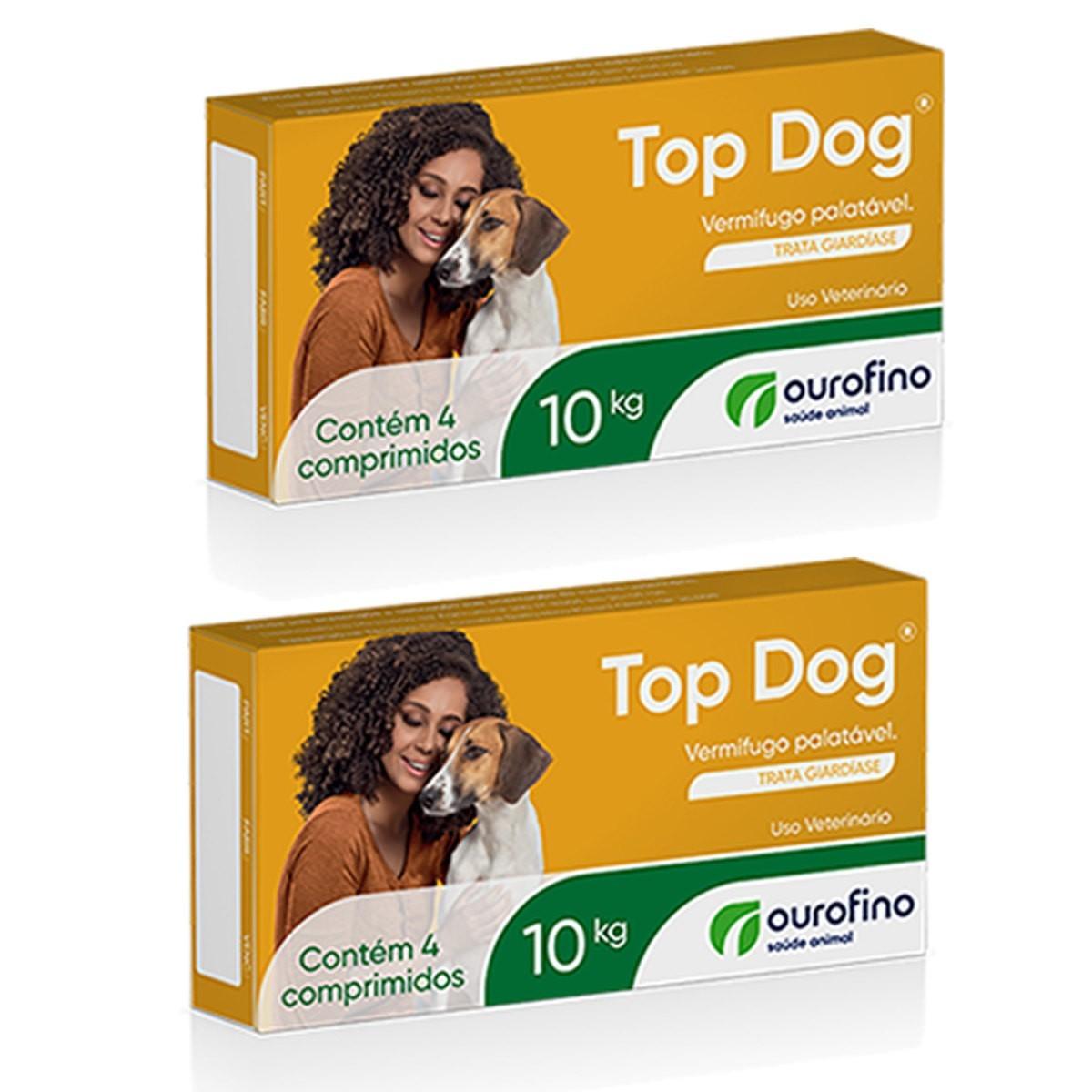 Kit 2 Vermífugo Top Dog Ourofino Cães Até 10 Kg Com 4 Comprimidos