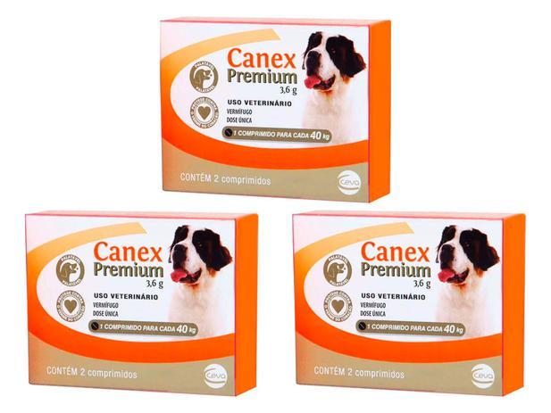 Kit 3 Canex Premium 3,6g 2 Comprimidos Cães 40 Kg