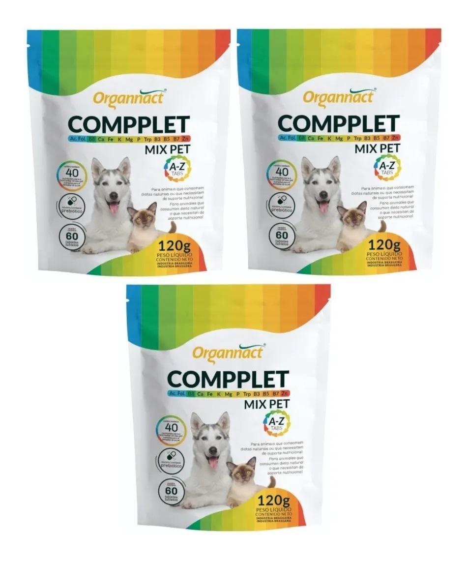 Kit 3 Compplet Mix Pet A-Z Organnact 60 Tabs 120g