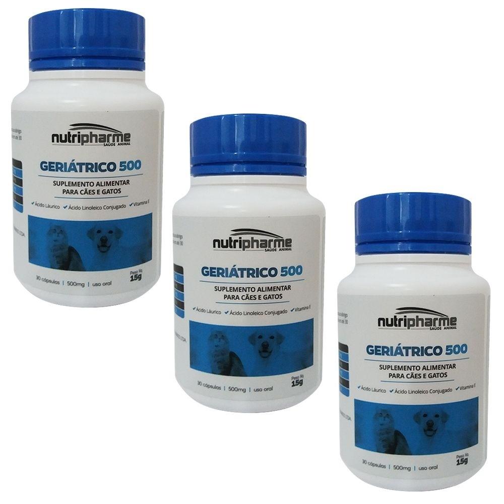 Kit 3 Geriátrico 500 30 Cápsulas Suplemento Vitamínico