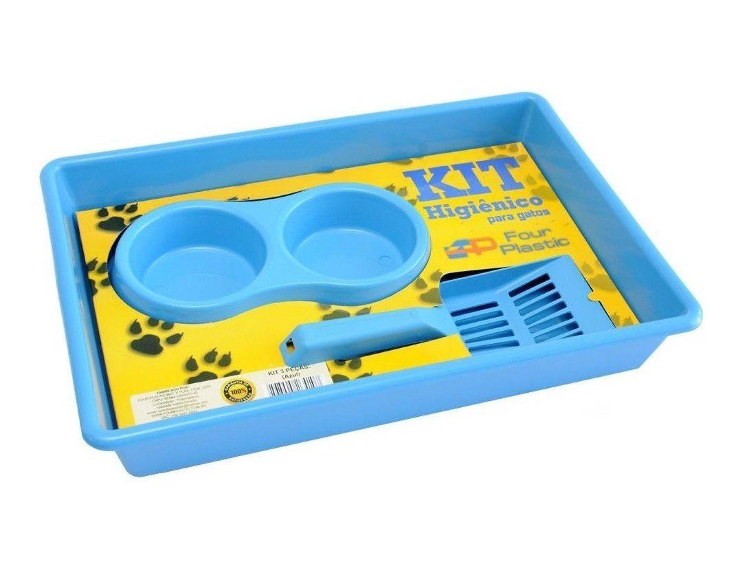 Kit Bandeja Higiênica Four Plastic para Gatos Azul