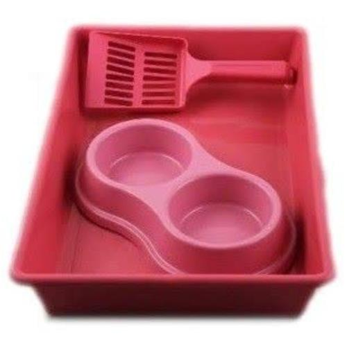 Kit Bandeja Higiênica Four Plastic para Gatos Rosa