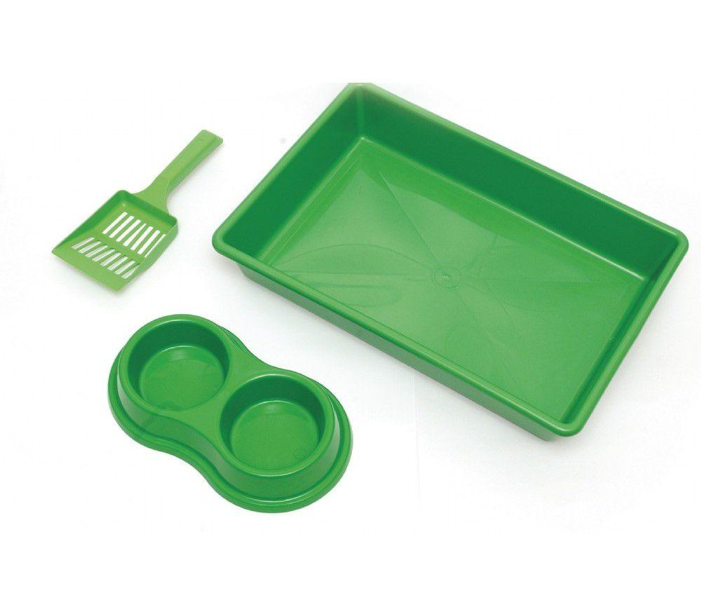 Kit Bandeja Higiênica Four Plastic para Gatos Verde