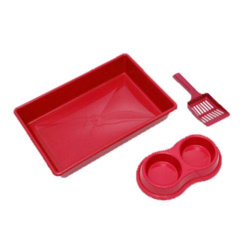 Kit Bandeja Higiênica Four Plastic para Gatos Vermelho