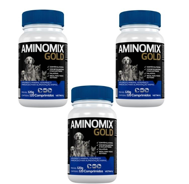 Kit c/ 3 Aminomix Gold 120g Vetnil Suplemento 120 Comprimidos