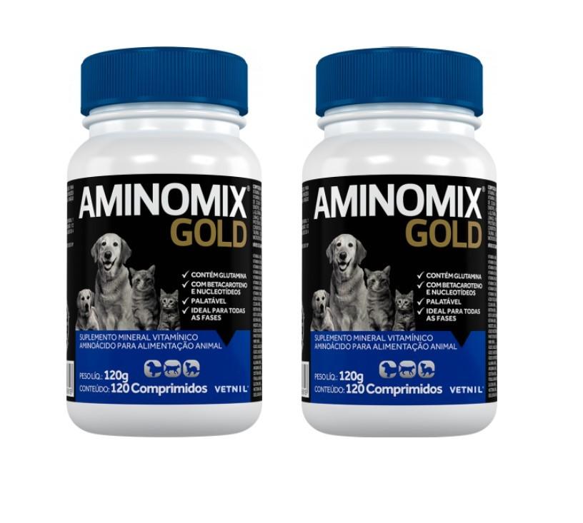 Kit 2 Aminomix Gold 120g Vetnil Suplemento 120 Comprimidos