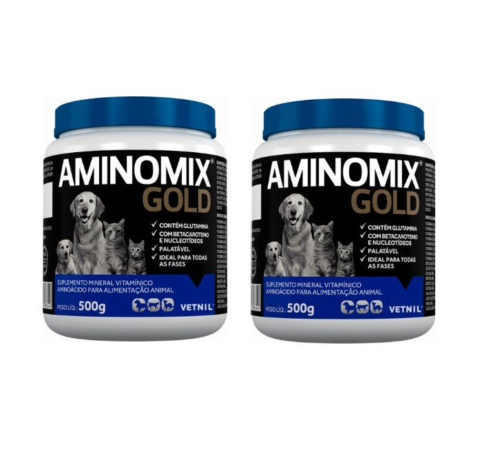 Kit 2 Aminomix Gold 500g Vetnil Suplemento Vitamínico