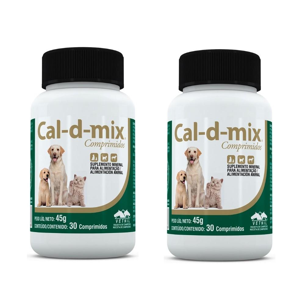 Kit c/ 2 Cal-d-mix Vetnil Cães E Gatos - 30 Comprimidos