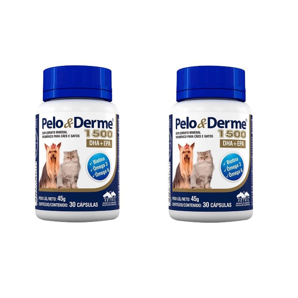 Kit 2 Pelo E Derme 1500 - 30 Capsulas Cães E Gatos