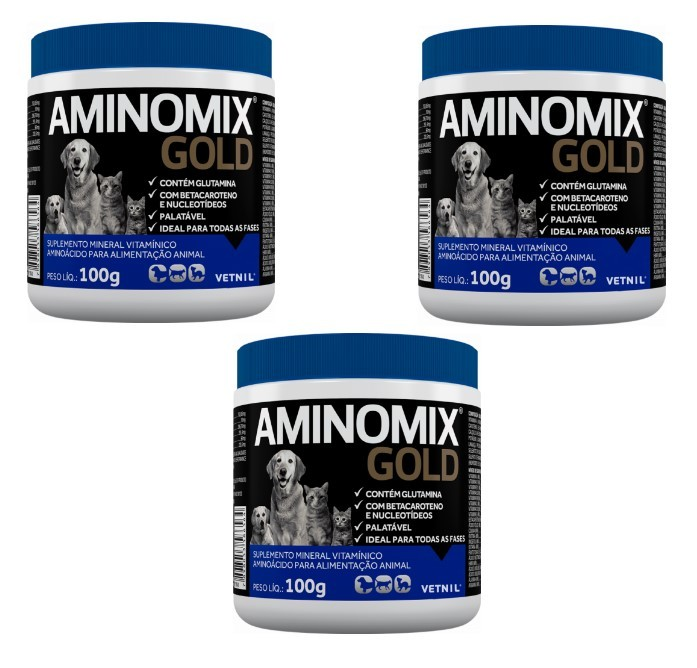 Kit c/ 3 Aminomix Gold Vetnil - 100g