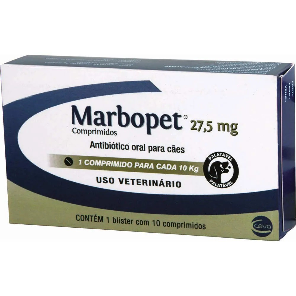 Marbopet 27,5mg Antibiotico Para Cães 10Comp.