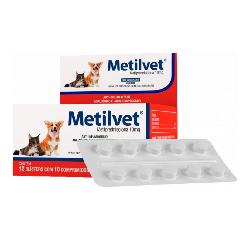 Metilvet 10mg Anti Inflamatório Vetnil 10 Comprimidos