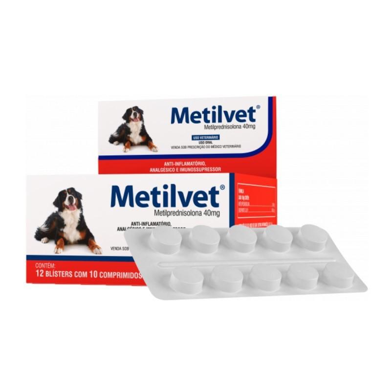 Metilvet 40mg Anti Inflamatório Vetnil 10 Comprimidos