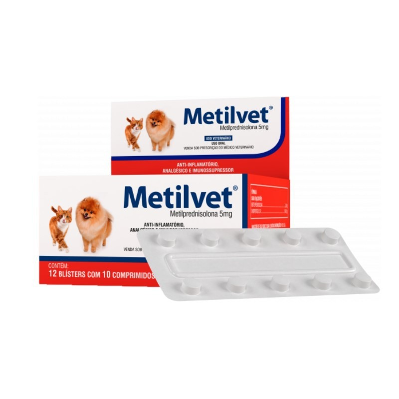 Metilvet 5mg Anti Inflamatório Vetnil 10 Comprimidos