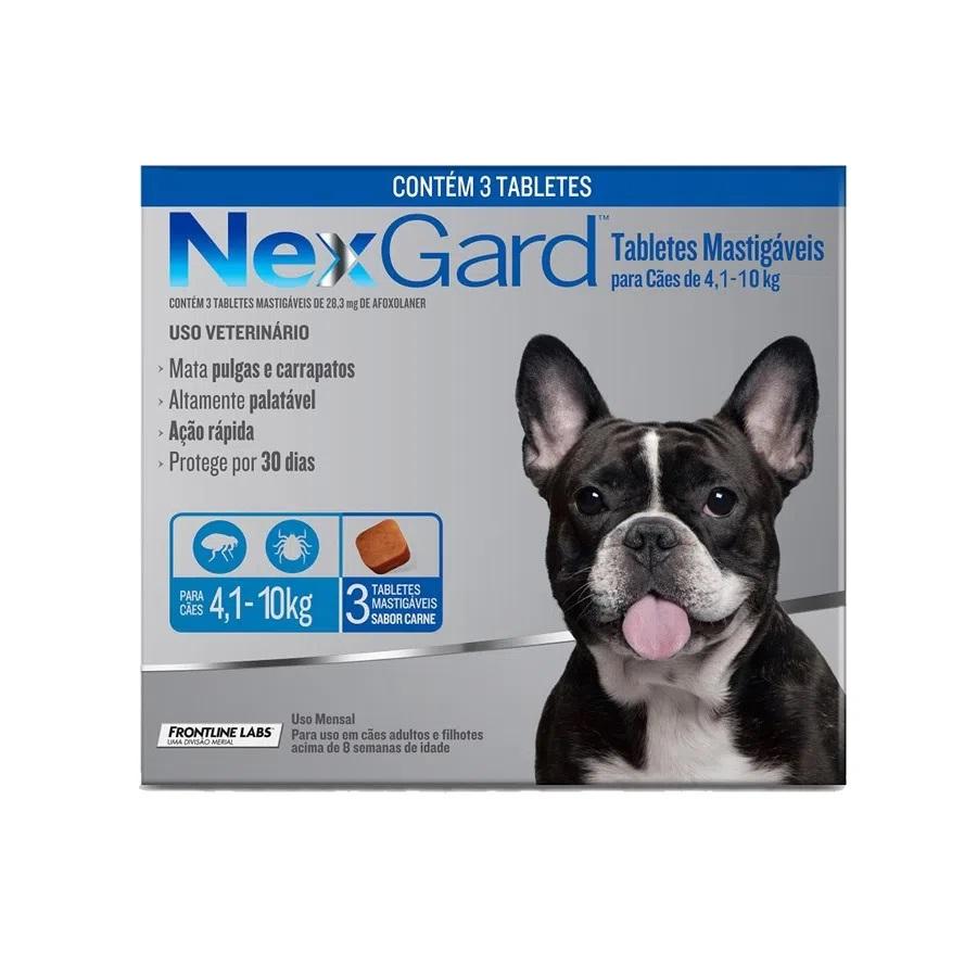 Nexgard Antipulgas e Carrapatos Cães de 4,1 a 10 Kg - 3 Tabletes