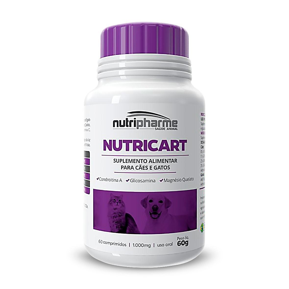 Nutricart 1000 Nutripharme Suplemento Para Cães e Gatos 60 Comprimidos