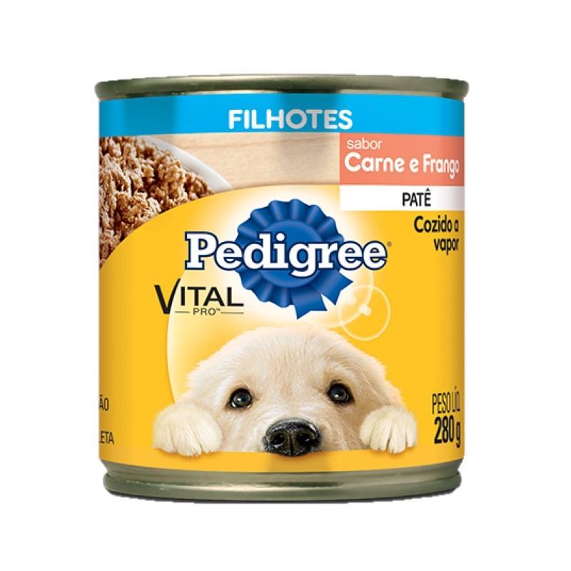 Pedigree Lata Filhotes Carne e Frango Patê 280g Para Cães