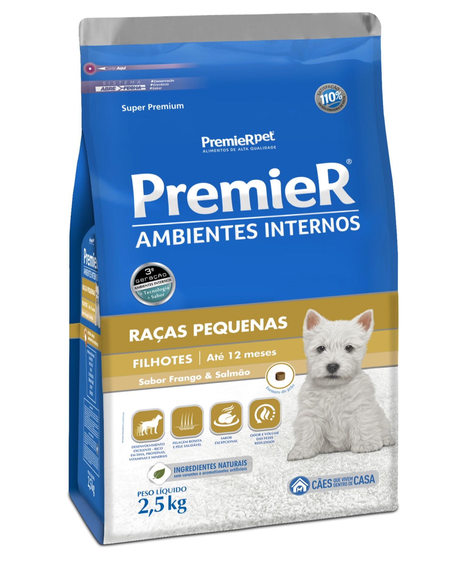 Premier Ambientes Internos 2,5kg - Filhote Raças Pequenas - Frango e Salmão